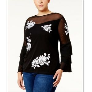 INC Macy's Embroidered Illusion Sequins Blouse 1X